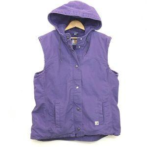 Carhartt sherpa vest hooded purple sz large 12/14